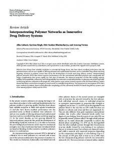 Review Article Interpenetrating Polymer Networks as ... - BioMedSearch