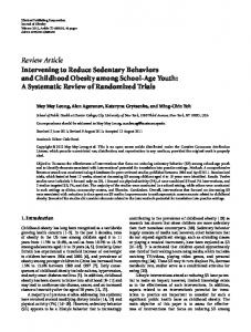 Review Article Intervening to Reduce Sedentary ... - BioMedSearch