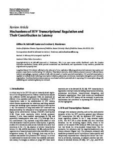 Review Article Mechanisms of HIV Transcriptional ... - BioMedSearch