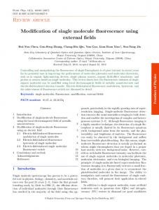 Review article Modification of single molecule fluorescence using ...