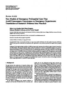 Review Article New Models of Emergency Prehospital Care That ...