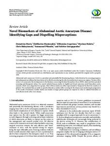 Review Article Novel Biomarkers of Abdominal Aortic ...