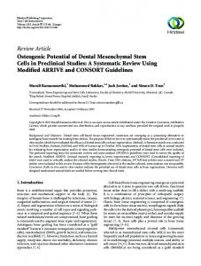Review Article Osteogenic Potential of Dental ...