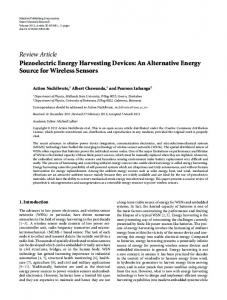 Review Article Piezoelectric Energy Harvesting Devices - Ubrisa