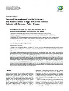 Review Article Potential Biomarkers of Insulin ...