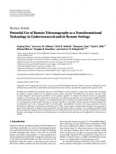 Review Article Potential Use of Remote ... - BioMedSearch