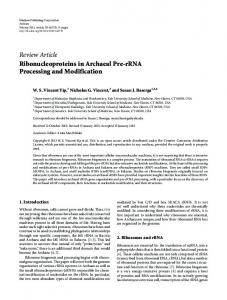 Review Article Ribonucleoproteins in Archaeal Pre ... - ScienceOpen