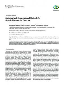 Review Article Statistical and Computational Methods
