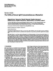 Review Article The Utility of Serum IgG4 ... - BioMedSearch