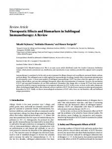 Review Article Therapeutic Effects and Biomarkers in ... - BioMedSearch