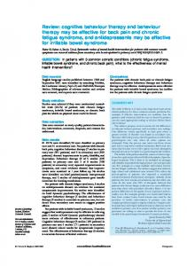 Review: cognitive behaviour therapy and behaviour ...