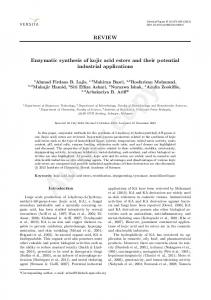 REVIEW Enzymatic synthesis of kojic acid esters and ...