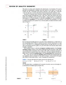 Review of Analytic Geometry - Stewart Calculus