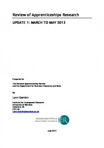 Review of Apprenticeships Research - University of Warwick