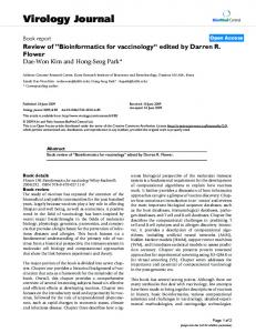"Review of"" Bioinformatics for vaccinology ""edited by Darren R. Flower"