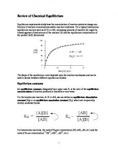Review of Chemical Equilibrium