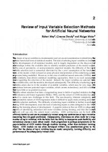 Review of Input Variable Selection Methods for Artificial Neural Networks