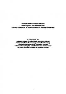 Review of Oral Iron Chelators (Deferiprone and Deferasirox) for the ...