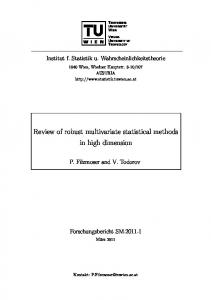 Review of robust multivariate statistical methods in high dimension