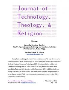 Review of Sherry Turkle, Alone Together - Journal of Technology ...