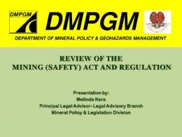REVIEW OF THE MINING (SAFETY) ACT AND ... - Act Now!