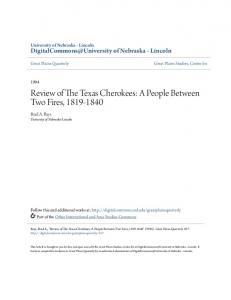 Review of The Texas Cherokees: A People ... - UNL Digital Commons