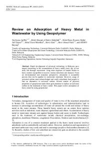 Review on Adsorption of Heavy Metal in Wastewater by Using ...