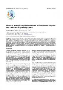 Review on Hydrolytic Degradation Behavior of Biodegradable - medIND