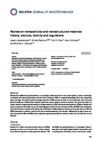 Review on nanoparticles and nanostructured ... - Beilstein Journal
