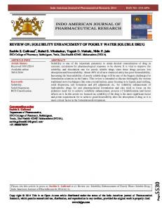 review on: solubility enhancement of poorly water soluble drug