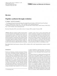 Review Peptide synthesis through evolution - Springer Link