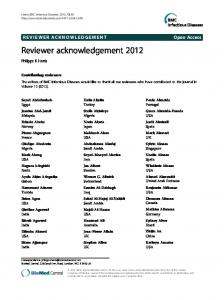 Reviewer acknowledgement 2012 - BioMed Central