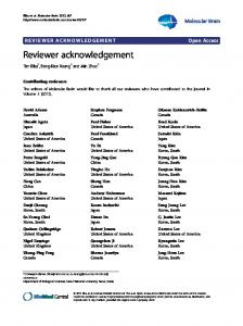 Reviewer acknowledgement