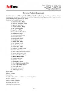 Reviewer Acknowledgements