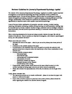 Reviewer Guidelines for Journal of Experimental Psychology: Applied