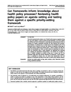Reviewing health policy papers on agenda setting ... - Oxford Academic