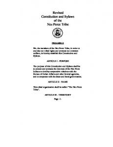 Revised Constitution and Bylaws of the Nez Perce Tribe