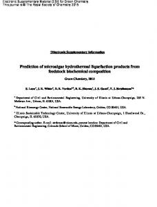 Revised ESI for Prediction of microalgae hydrothermal liquefaction ...