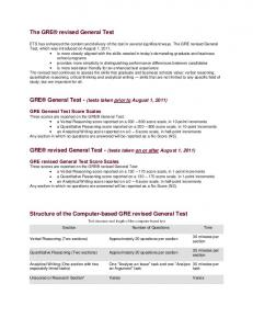 Revised GRE General Exam - DBBS