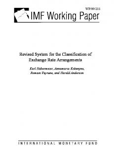 Revised System for the Classification of Exchange Rate ... - IMF