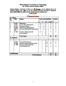 Revised upto 8th Semester - West Bengal University of Technology