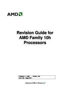 Revision Guide for AMD Family 10h Processors - AMD Developer ...