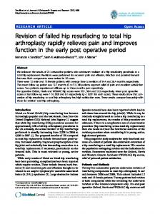 Revision of failed hip resurfacing to total hip arthroplasty rapidly ...