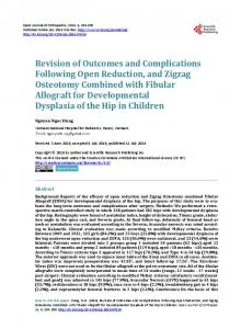 Revision of Outcomes and Complications Following Open Reduction ...