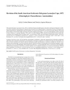 Revision of the South American freshwater fish genus LaemolytaCope ...