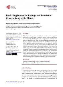 Revisiting Domestic Savings and Economic Growth Analysis in Ghana