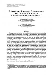 Revisiting Liberal Democracy and Asian Values in ...