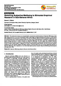 Revisiting Subjective Wellbeing to Stimulate ... - Social Sciences