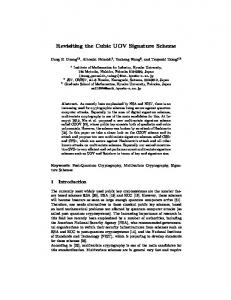 Revisiting the Cubic UOV Signature Scheme - Cryptology ePrint Archive