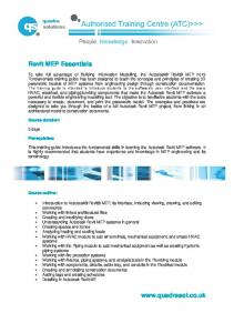 Revit MEP Essentials www.quadrasol.co.uk